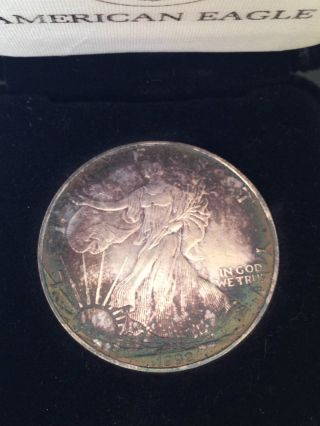 1992 Silver Eagle.  999 Natural Toning W Case photo