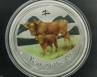 2009 $1 Australia Lunar Series Ii Year Of Ox 1 Oz.  999 Coloured Silver Coin photo