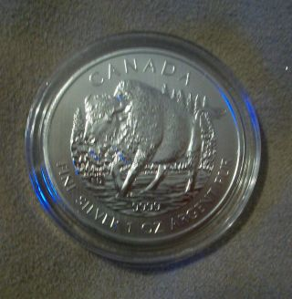2013 1 Oz Canadian Silver Wood Bison Wildlife Series.  9999 photo