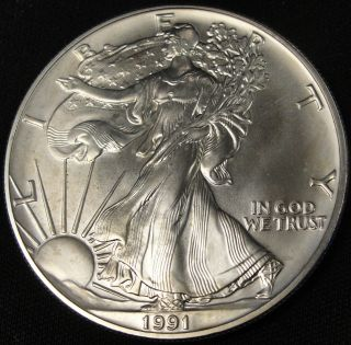 1991 American Silver Eagle Bullion Coin Key Date Investment Grade 1 Oz Silver photo