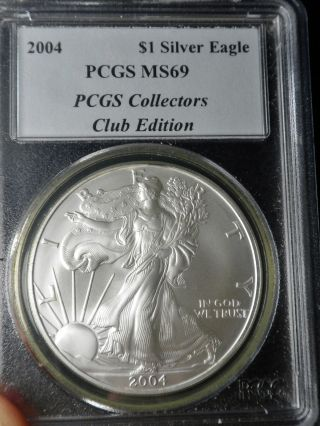 2004 Silver Eagle - - - - Pcgs Ms69 - - - First Strike - - - Special Colectors Club Edition photo