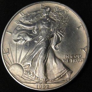 1992 American Silver Eagle Bullion Coin Key Date Investment Grade 1 Oz Silver photo