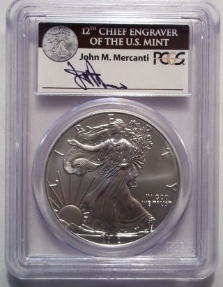 2012 - W Burnished Silver Eagle Dollar Pcgs Ms70 First Strike Mercanti Signature photo