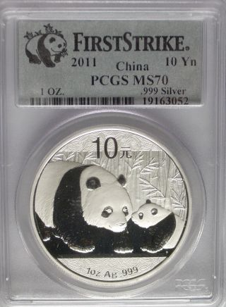 Pcgs Registry 2011 China Panda 10¥ Yuan Coin Ms70 Silver 1oz Top 1 First Strike photo