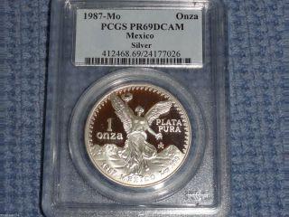 1987 Pcgs Graded Pr69dcam Mexico Silver Libertad Proof Coin (1oz) Una Onza - 1 photo