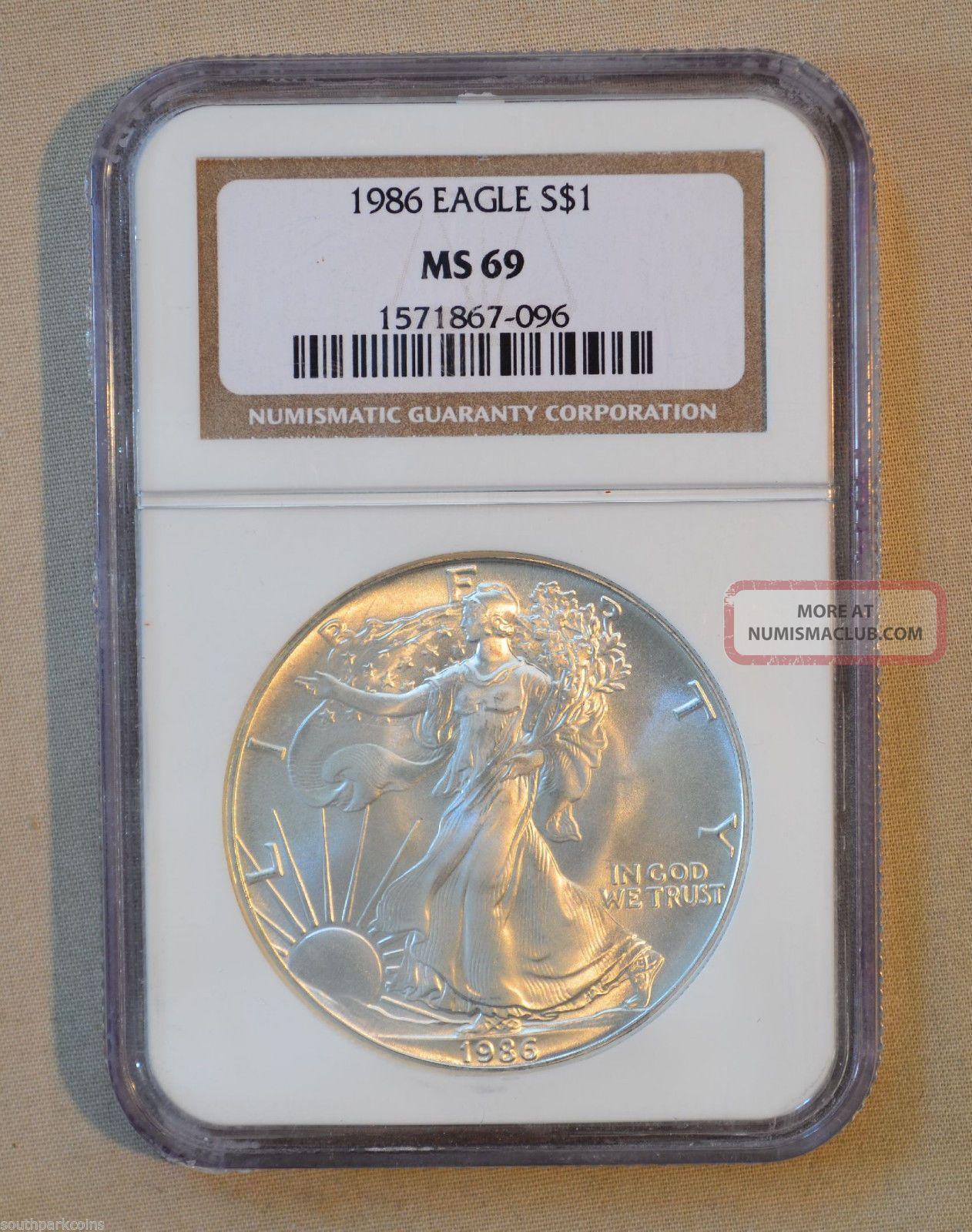 1986 Silver Eagle - Ngc Slabbed Ms69 - 1oz.  999 Fine Silver Silver photo