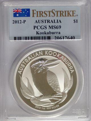 Pcgs 2012 P First Strike Australia Kookaburra $1 Dollar Ms69 Silver 1oz 999 Coin photo