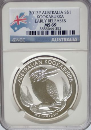 Ngc 2012 P Australia Kookaburra $1 Ms69 Early Releases Silver 1oz 999 Perth photo