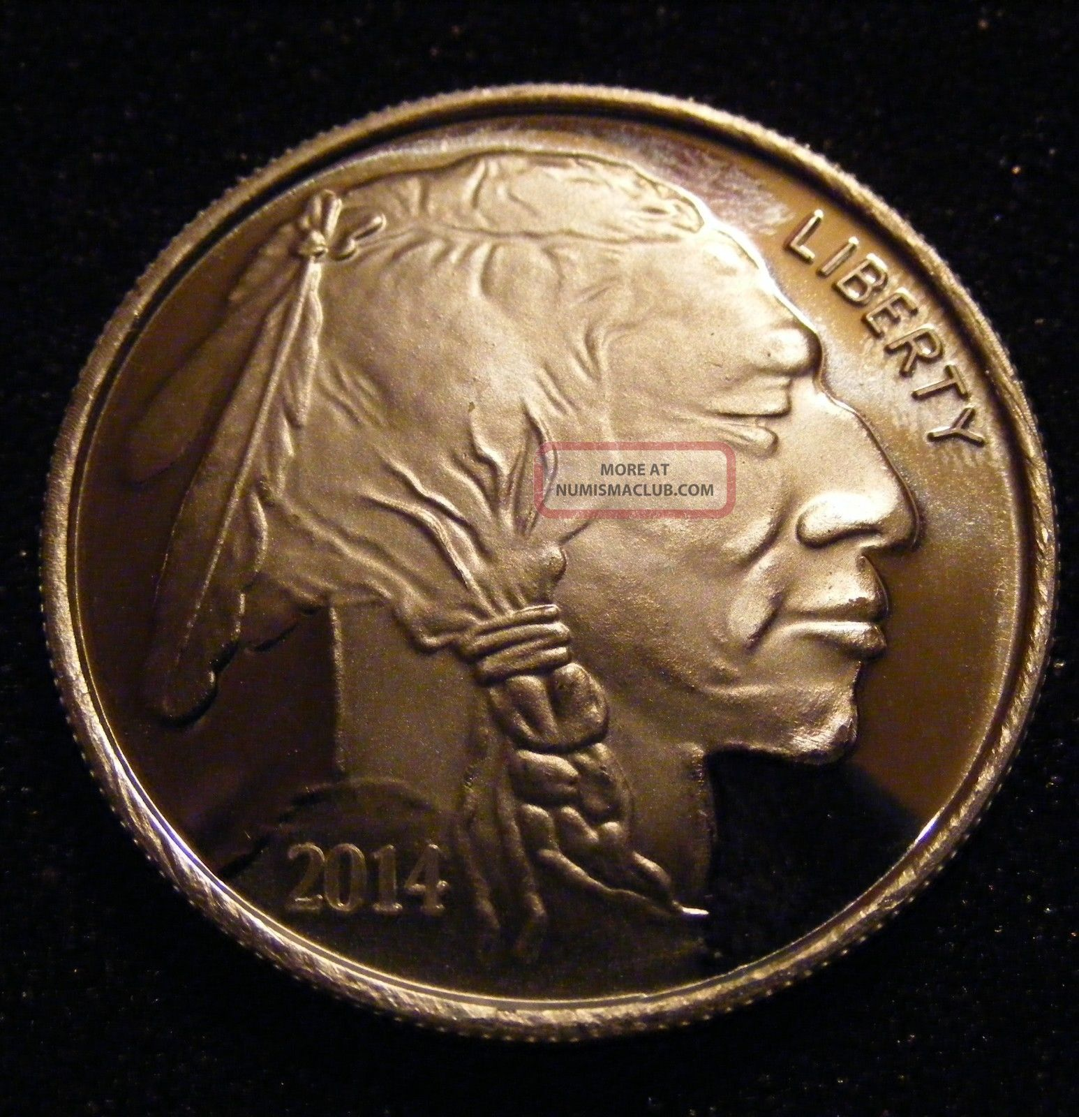2014 American Indian Proof - Buffalo 1 Troy Oz.  999 Fine Silver Round Silver photo