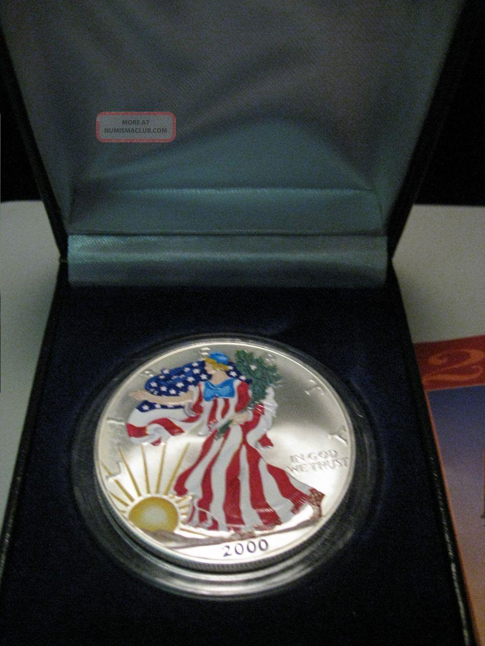 2000 Colorized Us American Eagle 1 Troy Oz Fine Silver