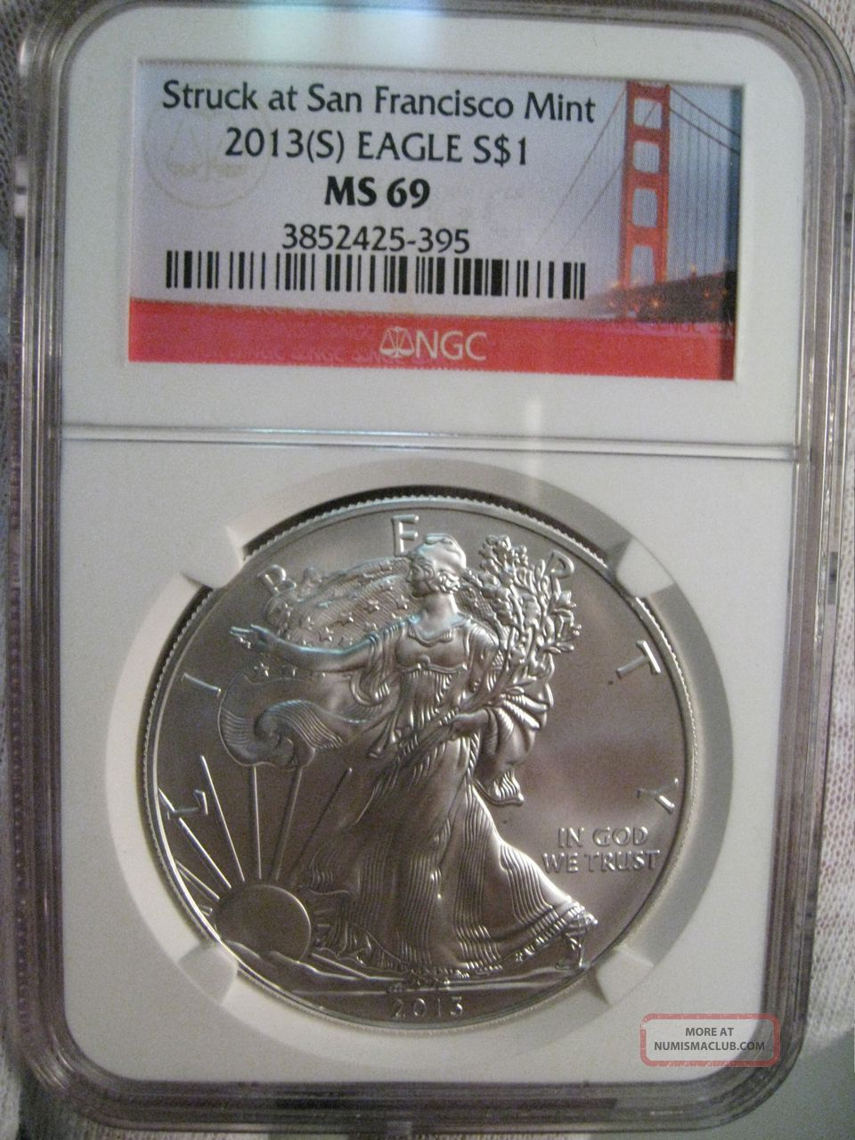 Bu Gem 2013 S Silver Us American Eagle Ngc Ms69 Struck