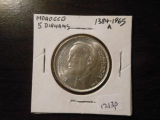 1384 (1964) Morocco,  Silver 5 Dirhams With Full Detail & Luster - 1213p photo