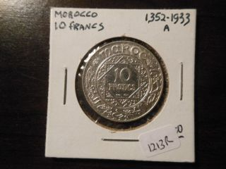 1352 (1933) Morocco Silver 10 Francs,  Detail & Luster - 1213r photo