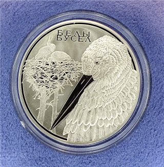 Belarus: Silver Proof Coin,  White Stork 20 Rouble,  Limited Mintage W/coa photo