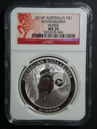 2014 - 1 Oz Australia Kookaburra Horse Privy Ngc - Ms 70 Fine Silver Coin photo