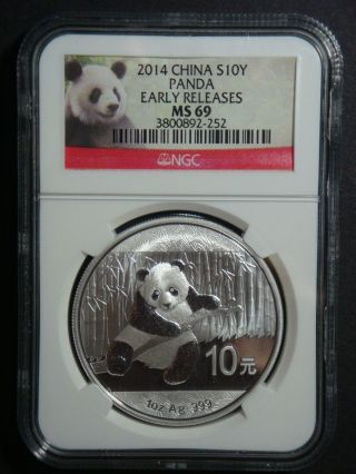 2014 - 1 Oz Chinese Panda Ngc Ms 69 Early Releases Bullion Fine Silver Coin photo
