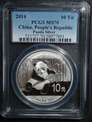 2014 - 1 Oz Chinese Panda Ms 70 By Pcgs Bullion Fine Silver Coin photo