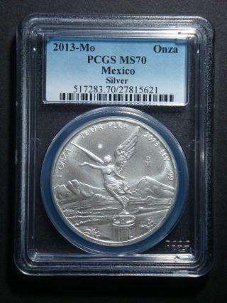 2013 - 1 Oz Mexico Libertad Pcgs - Ms 70 Bullion Fine Silver Coin photo