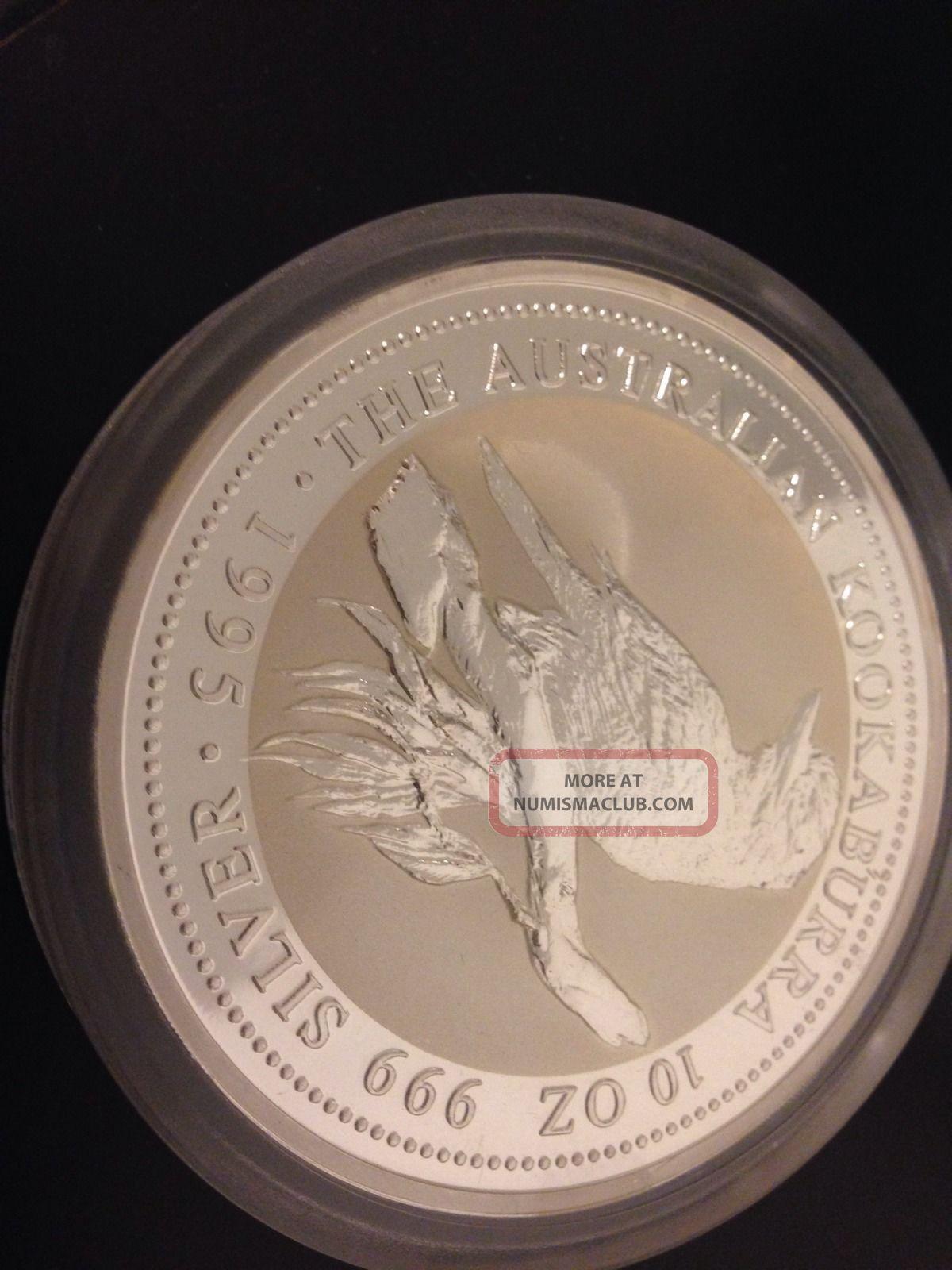1995 10 Oz Silver Australian Kookaburra 10 999 Coin