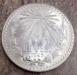 1945 Un Peso Mexican Silver Coin Brilliant White Coin photo