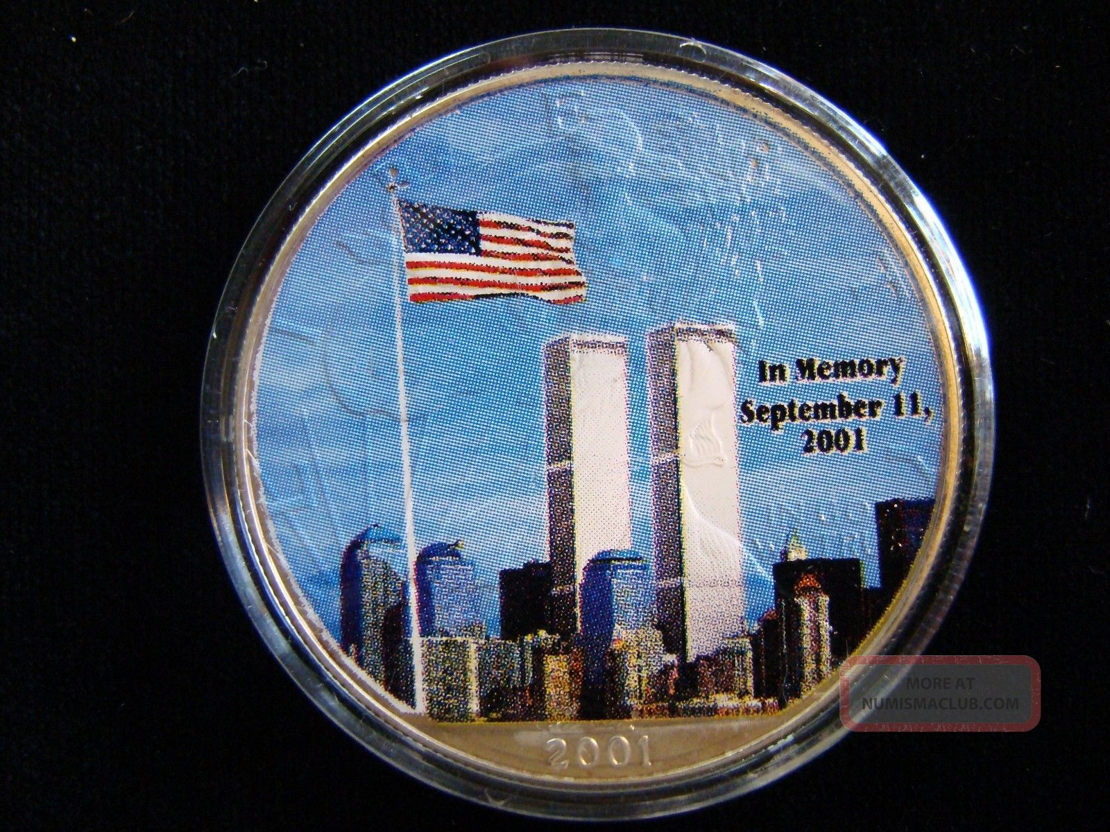2001 Twin Towers Flag 2 Sided Colorized Silver Eagle