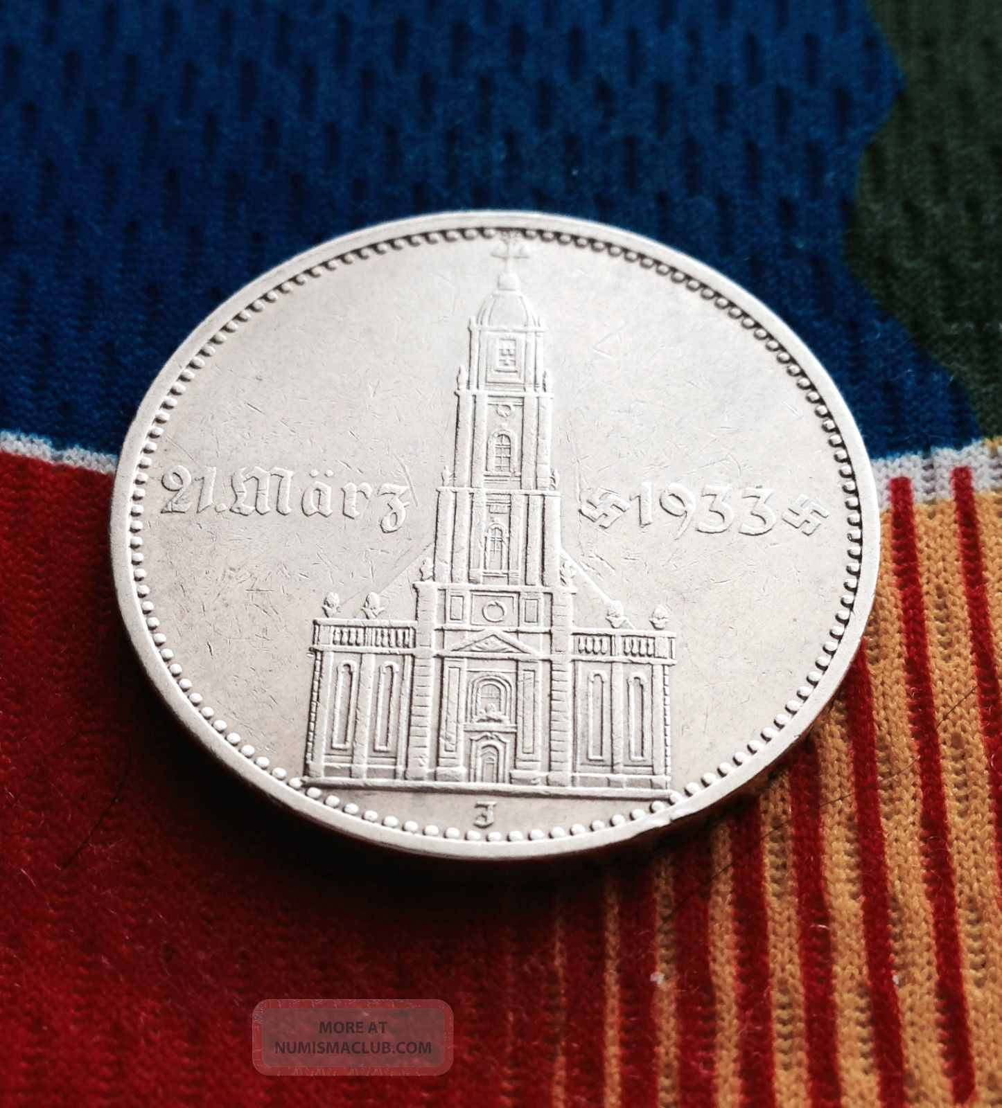 327,  000 Minted 1934 J Ww2 5 Mark 90% Silver German Garrisonkirche 3rd Reich Coin Germany photo
