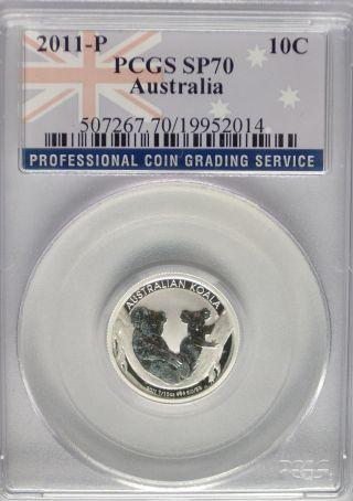 Pcgs Registry 2011 P Australia Koala Ten 10c Cents Sp70 Silver 1/10 Oz Coin Top photo