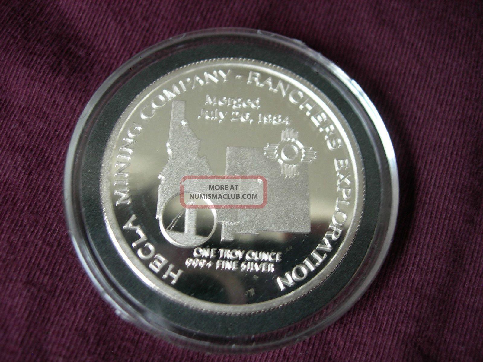 Rare 1985 Hecla Mining Company 1 Troy Ounce 999 Fine