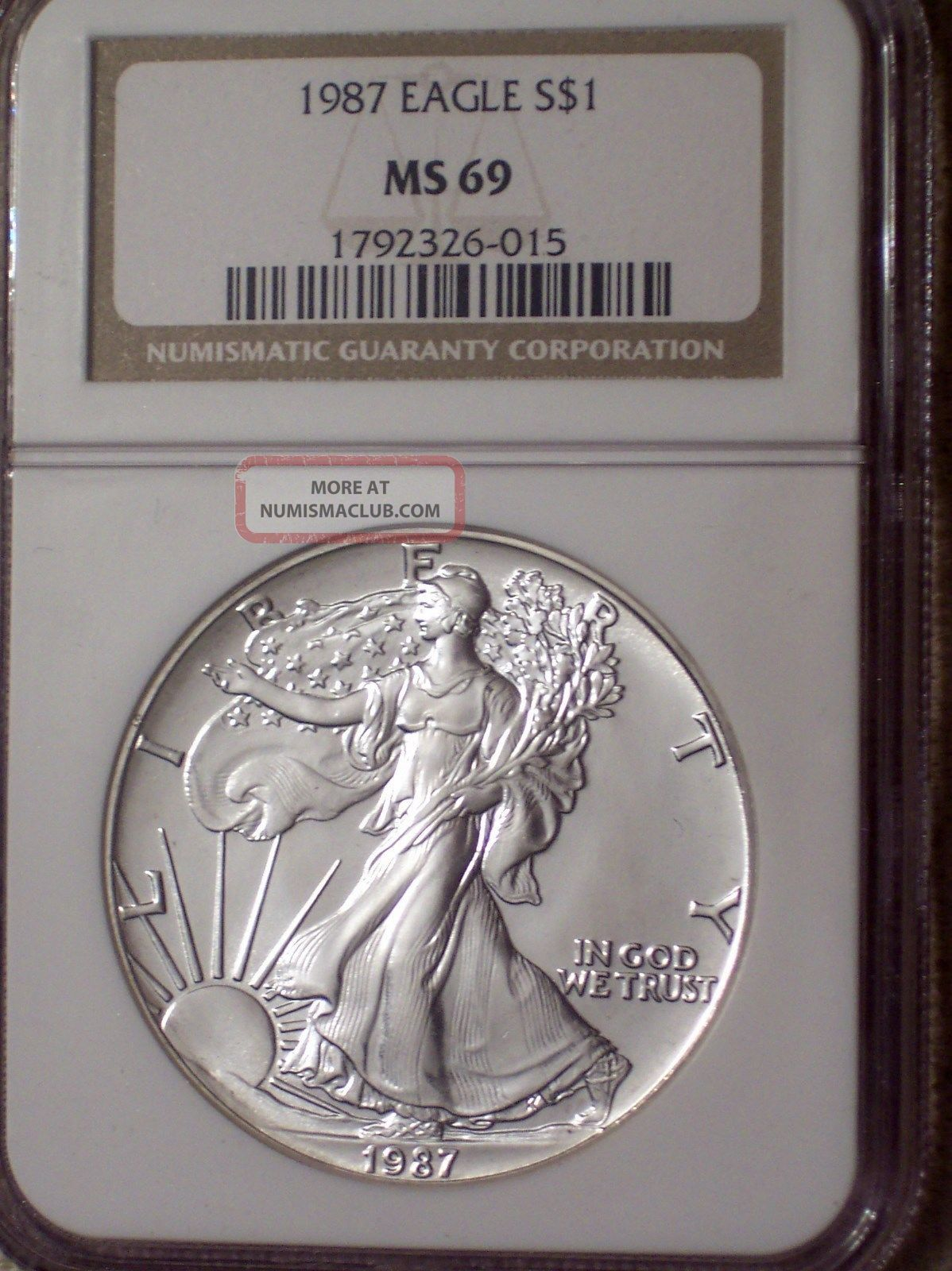 1987 Silver Eagle Graded Ms 69 By Ngc