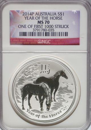 Ngc Registry 2014 P Australia Year Of The Horse $1 Ms70 1st 1,  000 Silver 1oz 999 photo