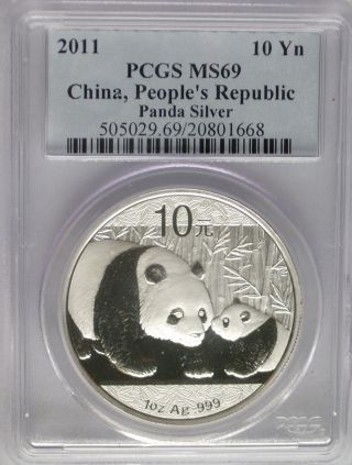 Pcgs 2011 China Panda 10¥ Yuan Coin Ms69 Blue Label Prc Silver 1 Oz.  999 Pure Ag photo