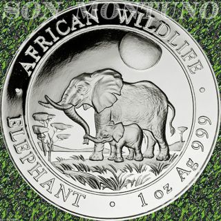 2011 Somalia African Wildlife Elephant 1 Troy Oz.  999 Silver Bu Coin In Airtite photo