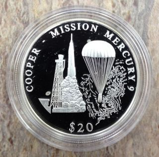 2001 $20 Silver Proof Republic Of Liberia Cooper - Mission Mercury 9 photo