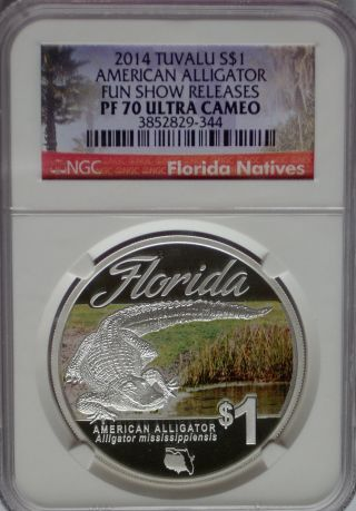 Ngc Registry 2014 Tuvalu Silver Alligator $1 Pf70 Max 3,  500 Fun Show Florida photo