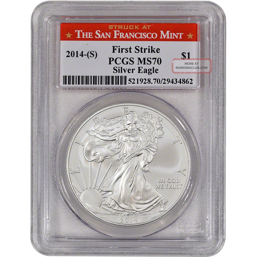 2014 S American Silver Eagle Pcgs Ms70 First