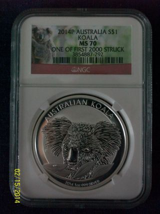 2014 Australia 1 Oz.  999 Silver Koala Ngc Ms 70 First Struck Koala Label photo