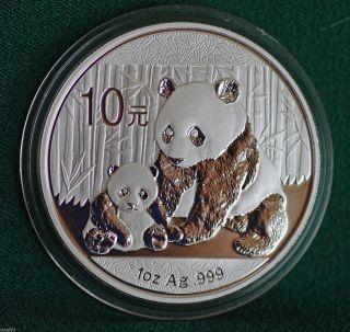 2012 Chinese Panda Proof 0.  999 Silver 10 Yuan Coin photo