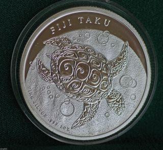 2012 Fiji Taku Turtle 0.  999 Silver 1 Oz.  Coin photo