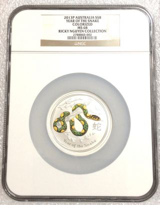 2013p Australia 5 Oz 999 Silver Lunar Year Of The Snake - Colorized $8 Ngc Ms68 photo