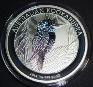 2014 - 1 Oz Kookaburra Australia Perth Bullion Fine Silver Coin photo