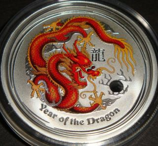2012 - 1/2 Oz Colorized Year Of The Dragon Perth Australia Pure Silver Coin photo