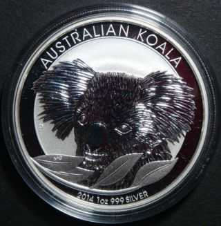 2014 - 1 Oz Australia Koala Perth Brilliant Uncirculated Fine Silver Coin photo