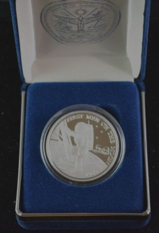 Marshall Islands,  1989,  $50 Dollars,  Silver,  Proof,  First Man On Moon,  Km14 photo