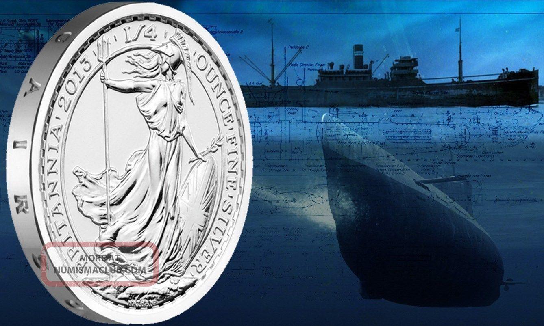 Silver Britannia 1 4 Ounce Coin From Ship Wreck Ss
