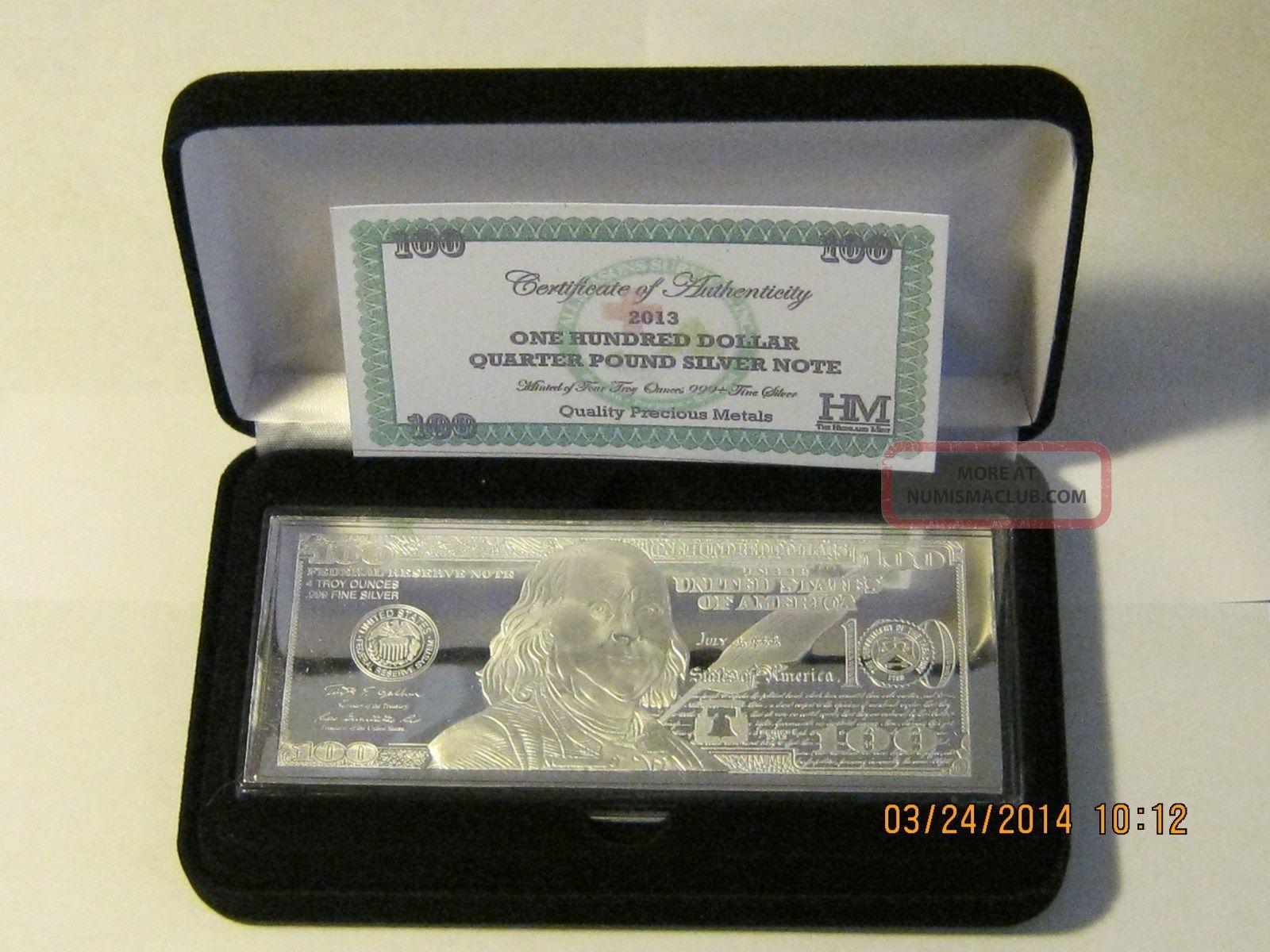 4 Troy Oz 999 Fine Sterling Silver 2013 100 Franklin