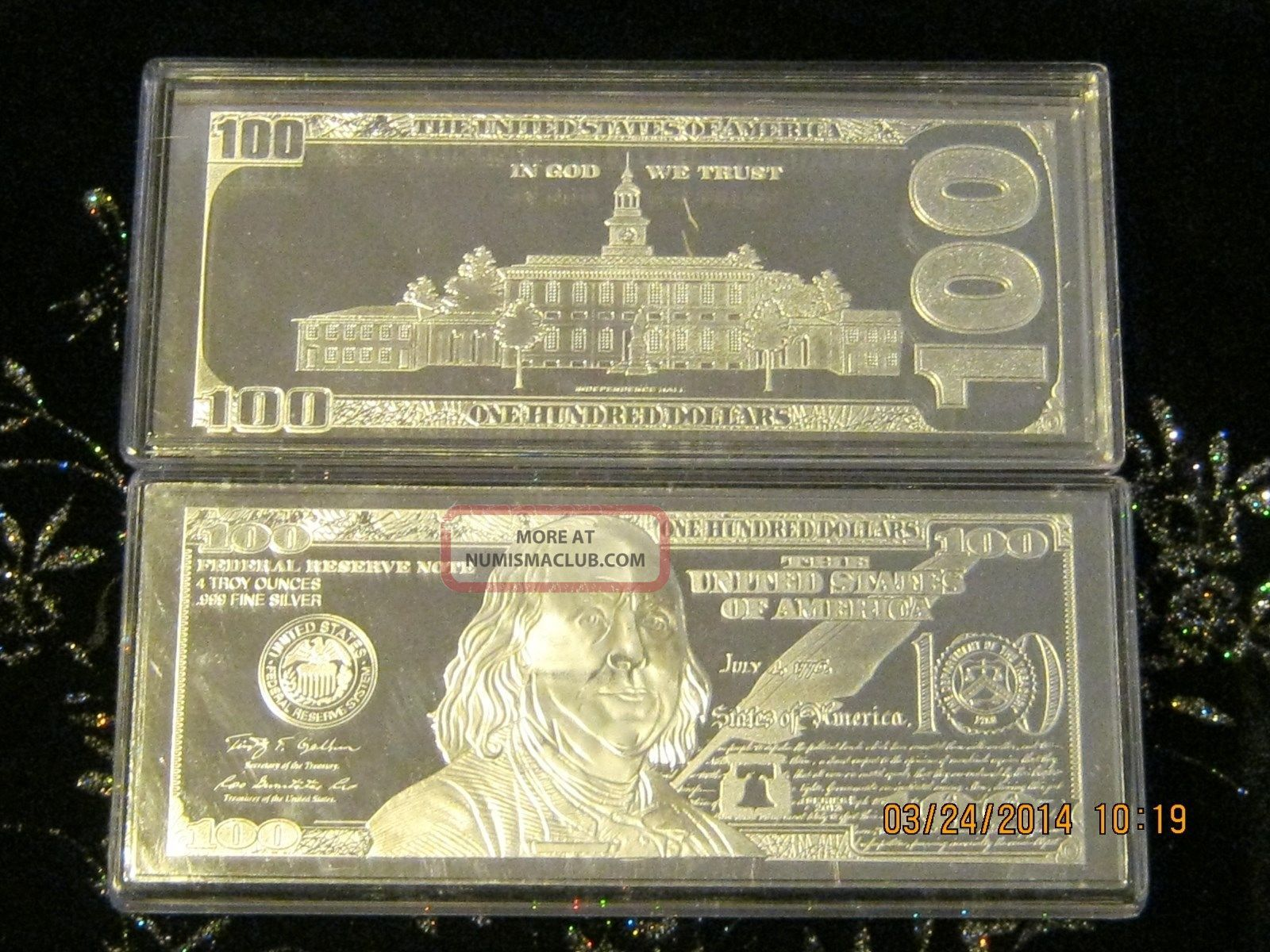 4 Troy Oz 999 Fine Sterling Silver 2013 100 Franklin