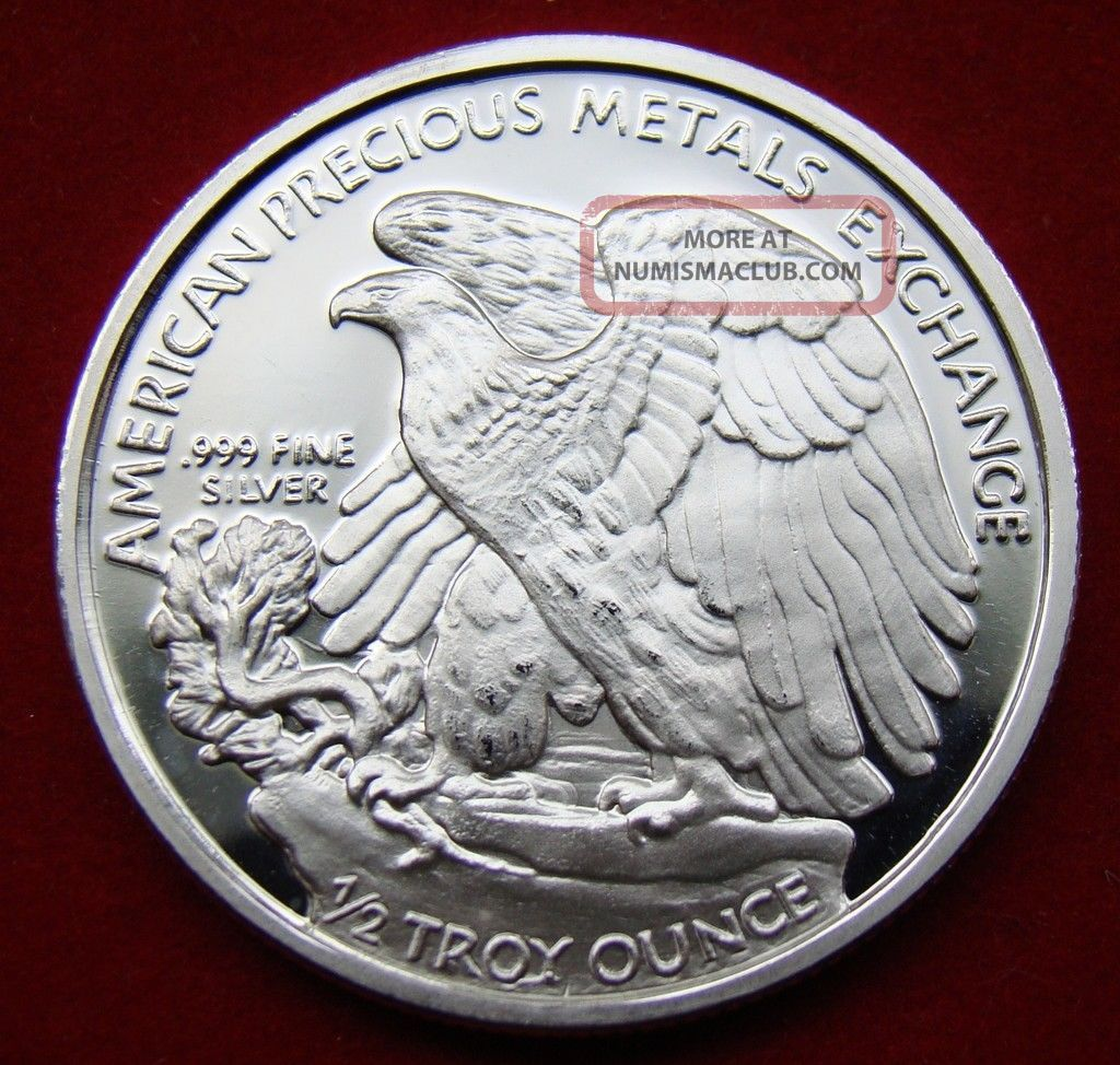 Solid Silver Round 1 2 Half Oz Walking Liberty Amp Eagle