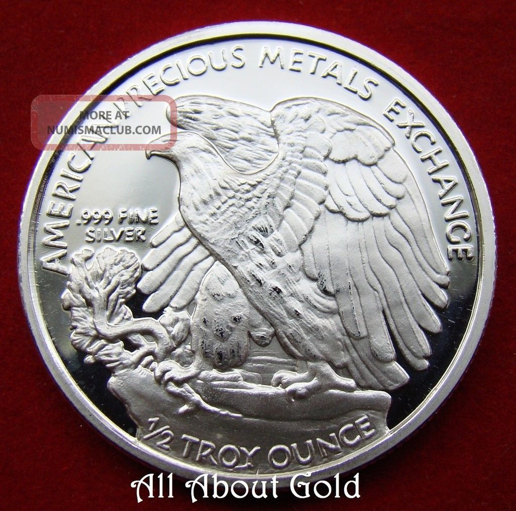 Solid Silver Round 1 2 Half Oz Walking Liberty Amp Eagle