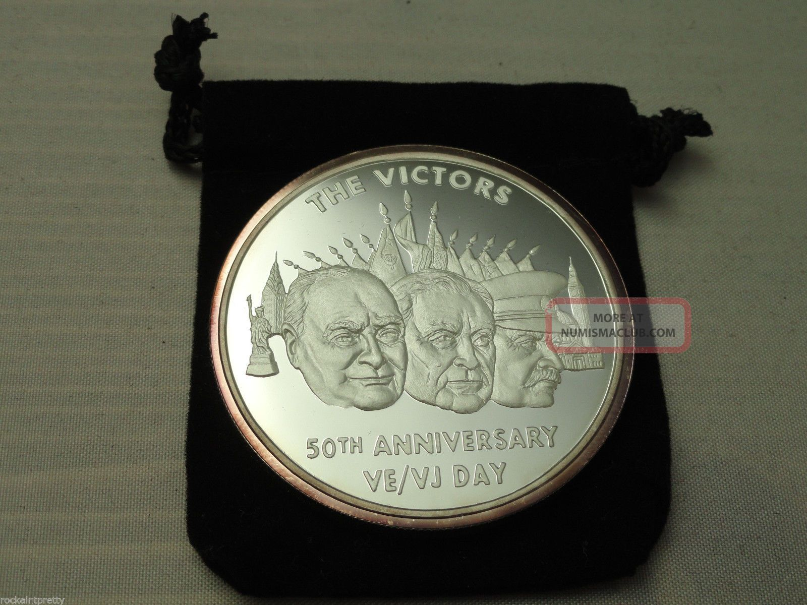 2 Troy Oz Vj Day 50 Year Commemerative Proof Coin
