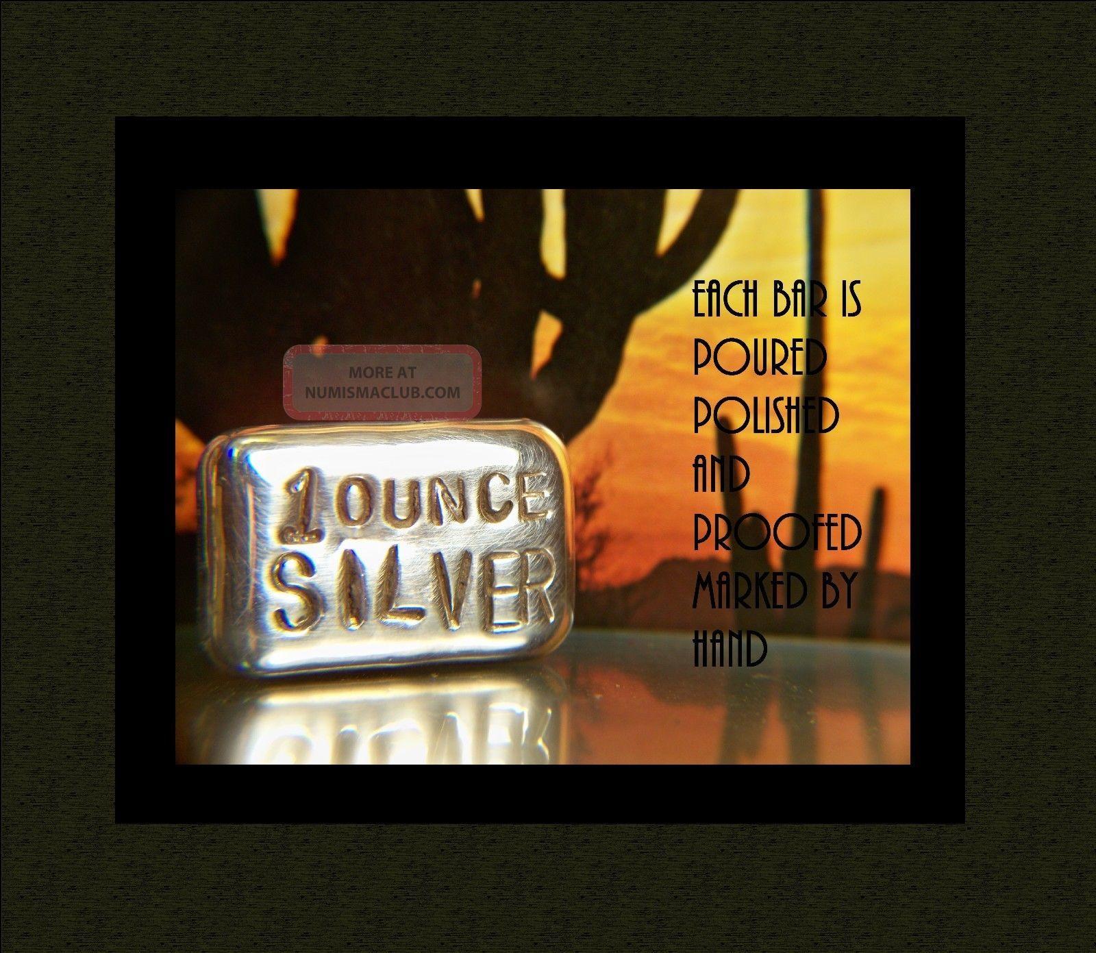 Hand Poured 1 Troy Oz Fine Silver Bullion Bar 999 Pure